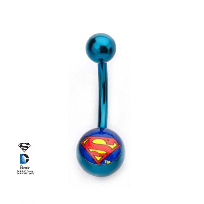 Titanium Plated Navel with Superman Fixed Logo Charm