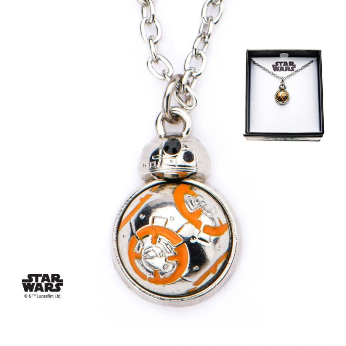 Star Wars Episode 8 BB8 Spin Flat Back Pendant with Steel Chain