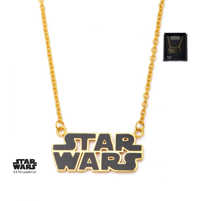 Gold PVD Plated Star Wars Logo Pendant Necklace