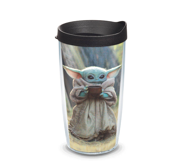 Tervis Mandalorian The Child Sipping Insulated Tumbler with Wrap and Black Lid
