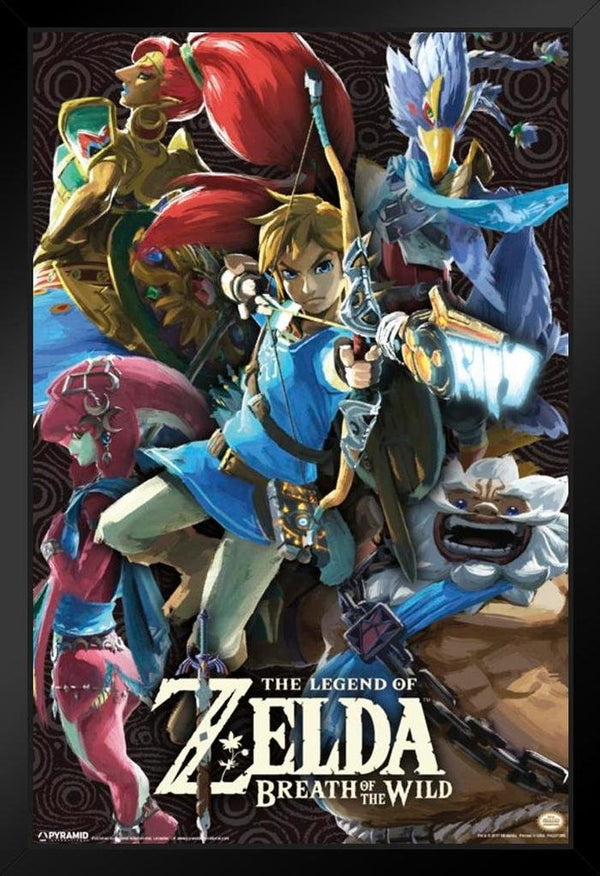 Legend of Zelda Breath of The Wild Framed Poster Canvas - Kryptonite Character Store