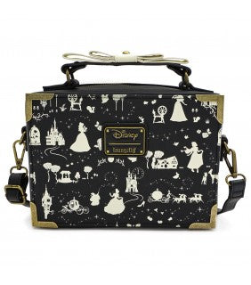 LOUNGEFLY X DISNEY PRINCESS BLACK AND WHITE MULTI PRINCESS BOX CROSS BODY BAG