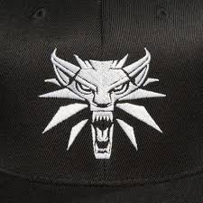 The Witcher 3 - White Wolf Medallion Snapback Baseball Hat, Black - Kryptonite Character Store