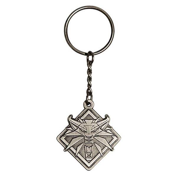 The Witcher 3 - White Wolf Medallion Metal Key Chain, Metallic - Kryptonite Character Store