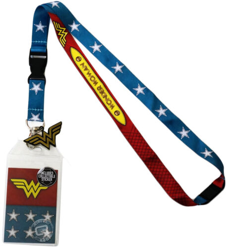 DC Comics Wonder Woman Suit Up Lanyard Sticker ID Badge Holder & Metal Charm- Kryptonite Character Store