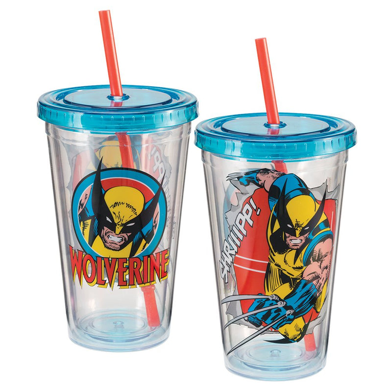 Marvel Comics - X-Men - Wolverine 18 oz Acrylic Travel Cup with Lid and Straw - Kryptonite Character Store