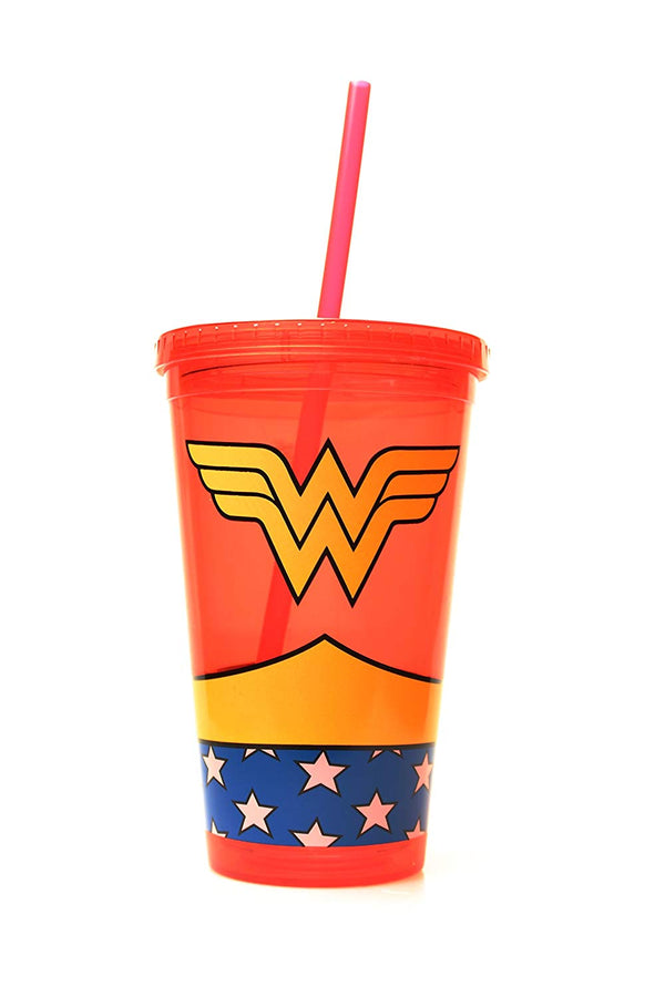 DC Comics Wonder Woman Uniform Plastic Cold Cup with Lid and Straw - Kryptonite Character Store