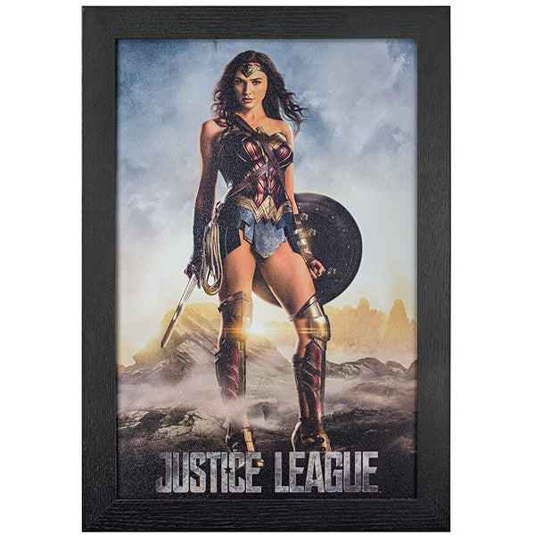 "Justice League Wonder Woman Framed Poster 19"" x 13"" - Kryptonite Character Store"