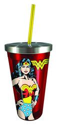 DC Comics - Wonder Woman Stainless Cup with Straw, Red - Kryptonite Character Store