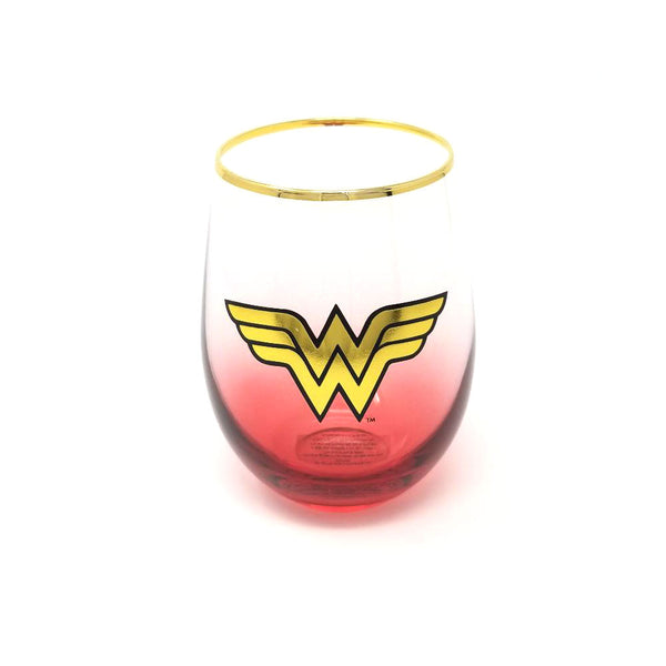 DC Comics - Wonder Woman - Logo Stemless Wine Glass - Kryptonite Character Store