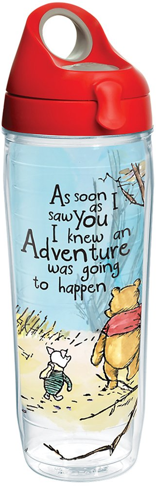 Disney - Winnie the Pooh Adventure Insulated Tumbler with Wrap and Red with Gray Lid, 24 oz Water Bottle- Kryptonite Character Store