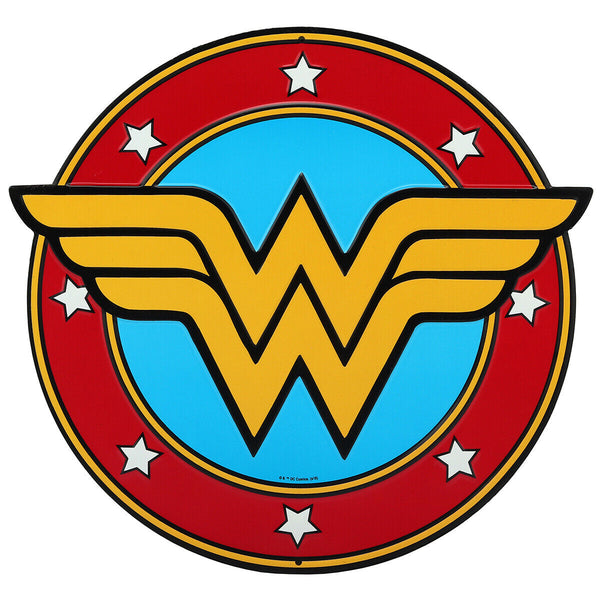 Wonder Woman Logo Embossed Metal Sign - Kryptonite  Character Store