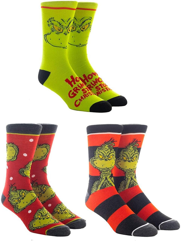 The Grinch 3 Pair Crew Socks