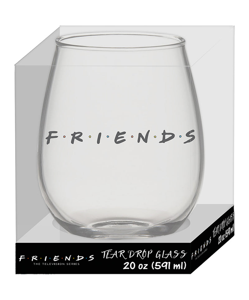 "Silver Buffalo ""Friends"" Tear Drop Drinking Glass, 20-Ounce, Clear"