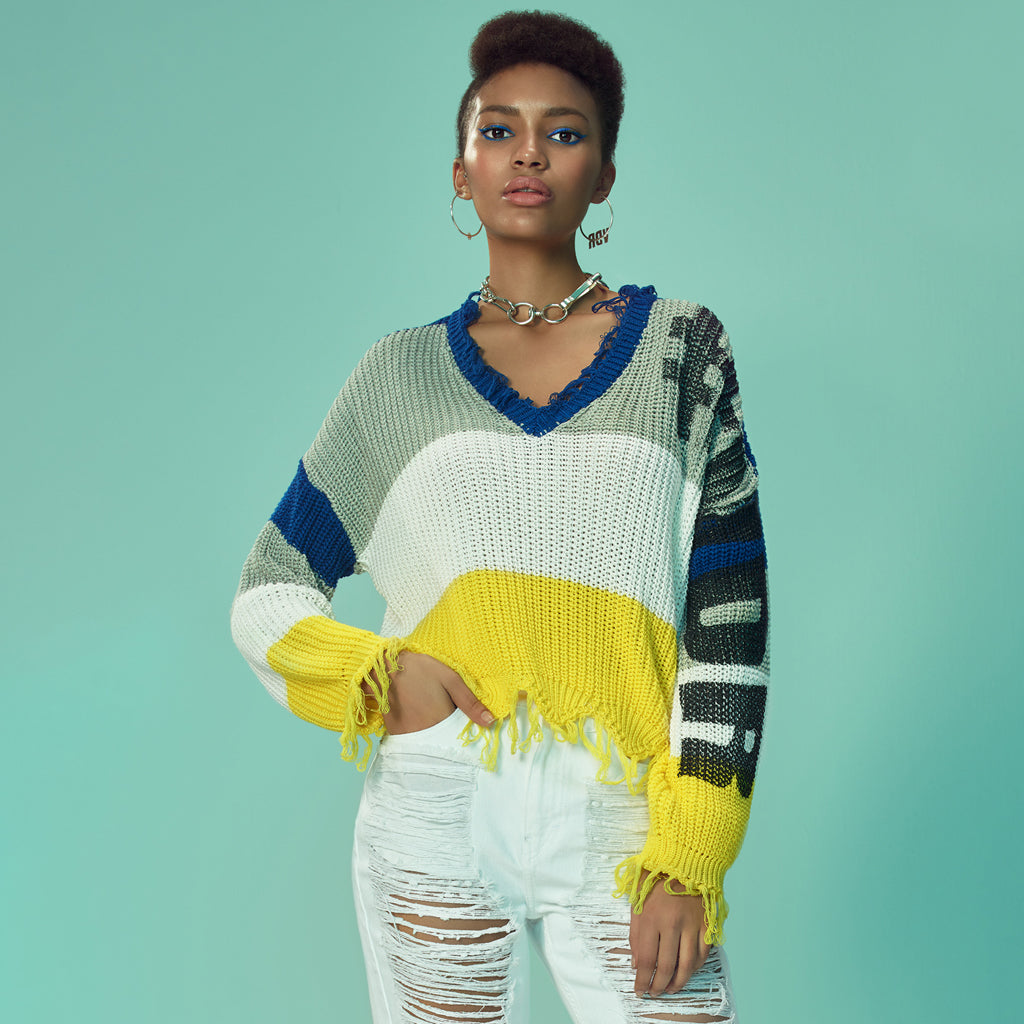 Colorblock Ripped V-Neck Sweater