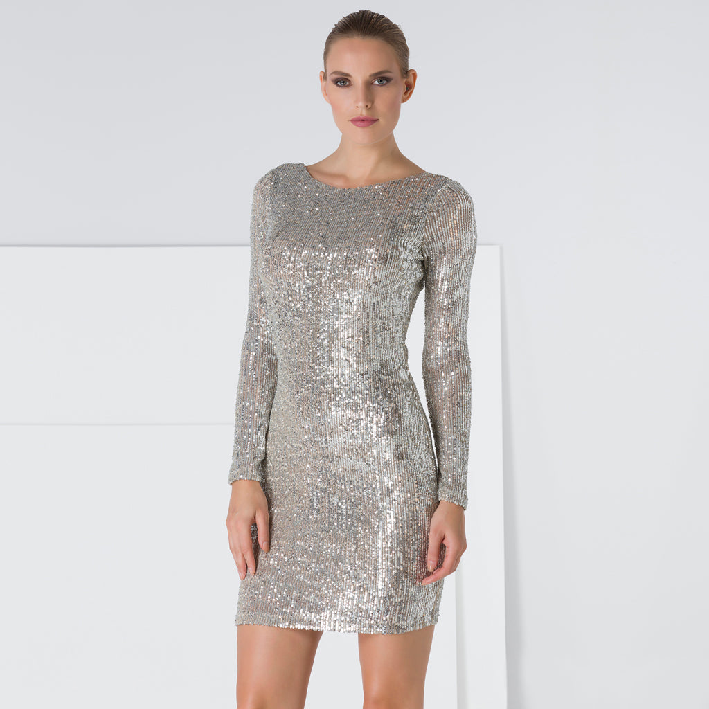 Silver Long Sleeve Open Back Sequin Dress