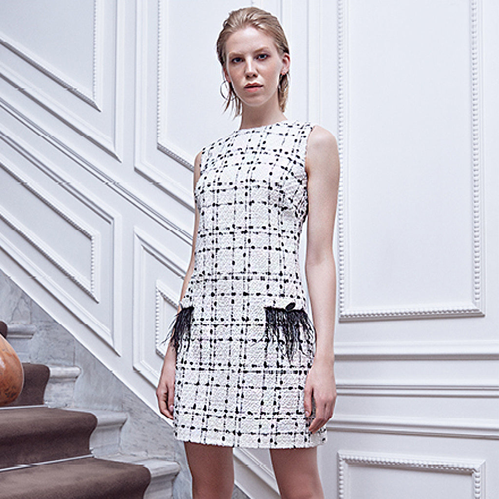 White Check Tweed Dress