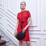 Red Short Sleeve Bow Dress