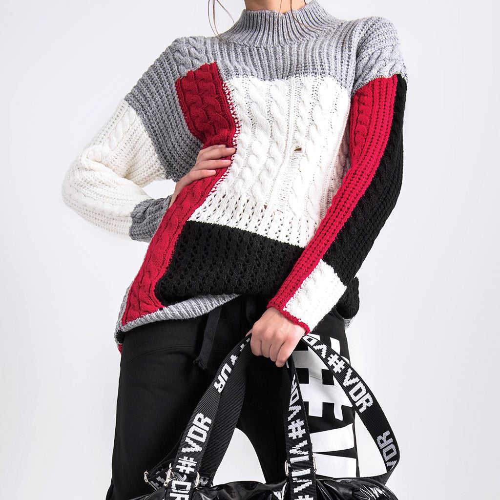 High Neck Colorblock Sweater