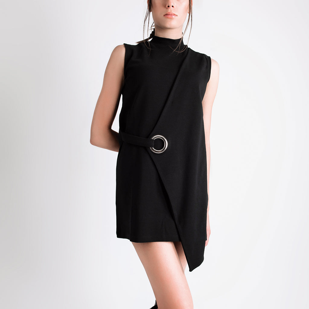 Mock Neck Asymmetric Mini Dress