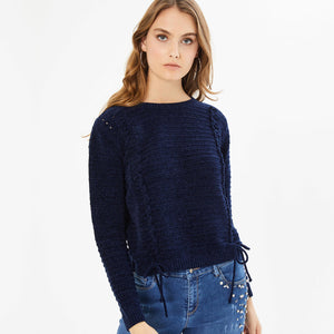 Navy Blue Lace Up Sweater