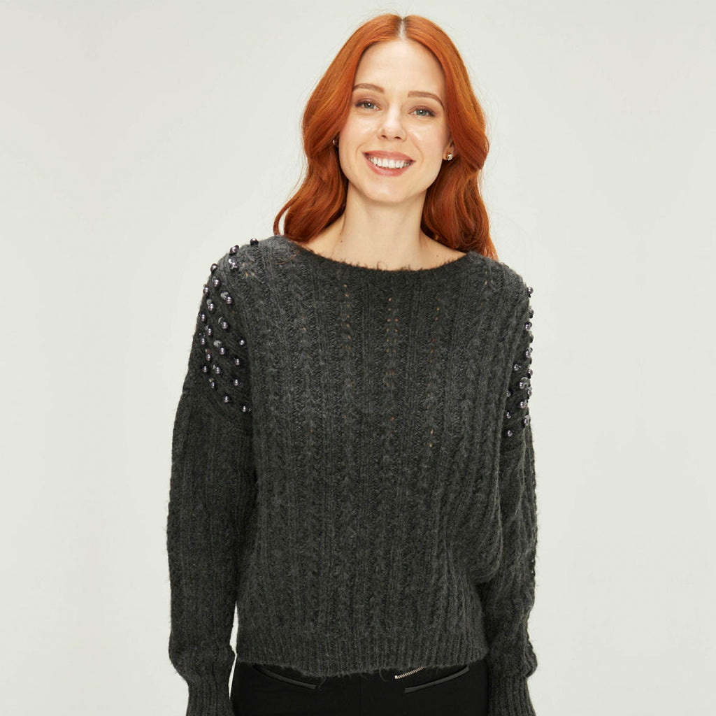 Drop Shoulder Beaded Sweater