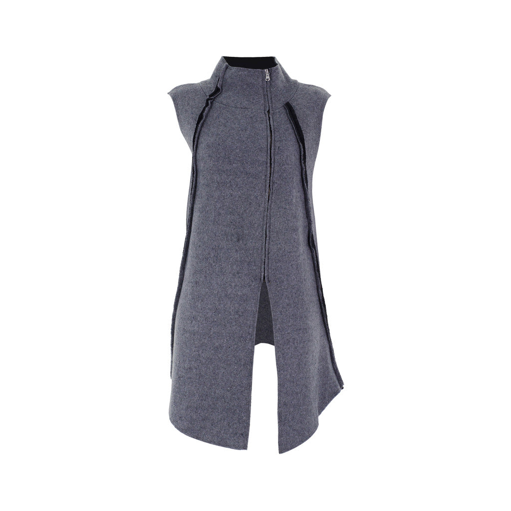 High Neck Sleeveless Grey Cardigan