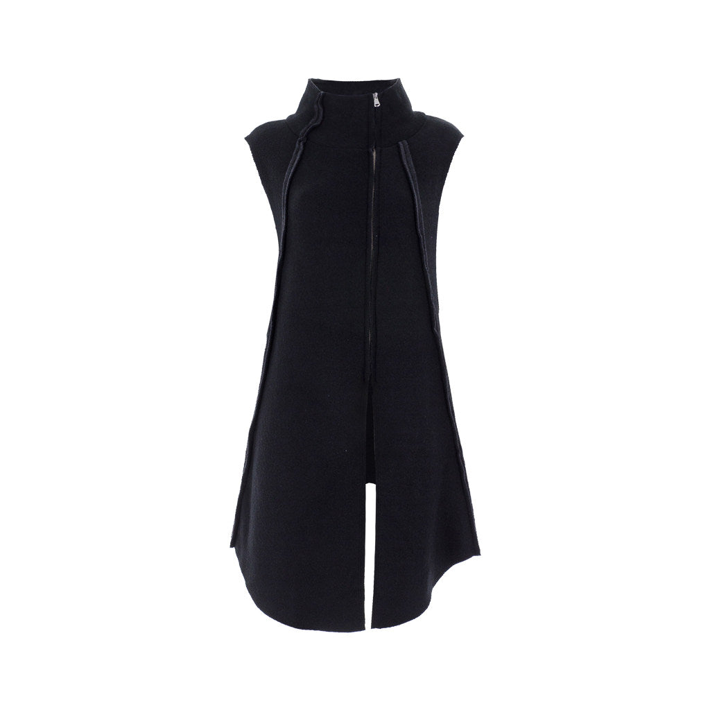 High Neck Sleeveless Black Cardigan