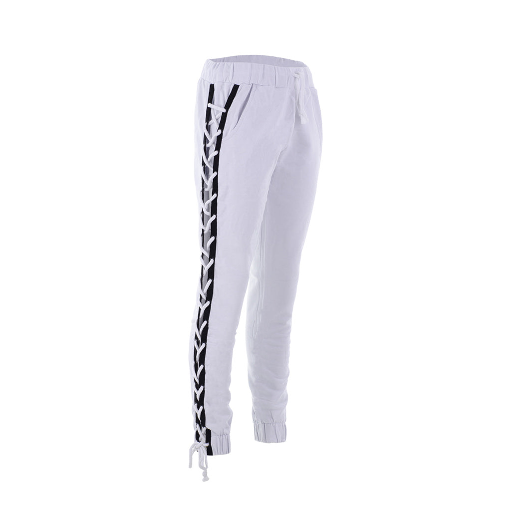 Lace Up White Joggers