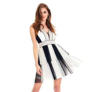 Black White Striped Sequin Dress
