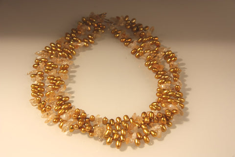 Citrine & Pearls Necklace
