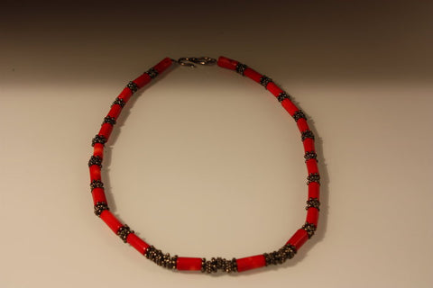 Coral Tube-Shape Necklace