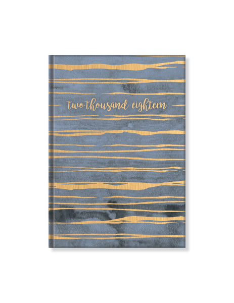 "2018 Perfect Planner- ""Two Thousand Eighteen"" Navy with Gold Stripes- 18 Month"