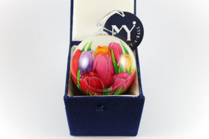 Amsterdam Tulip Museum Perfect Tulip Patch Hand-Painted Glass Tree Ornament