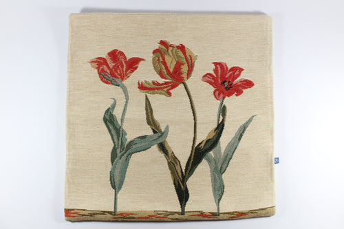 Amsterdam Tulip Museum Flared Tulips On Beige Medium Pillow Cover