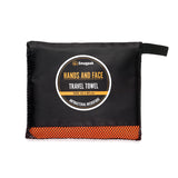 Snugpak Orange Quick Drying Travel Towel for Your Hands and Face in its Carrying Bag