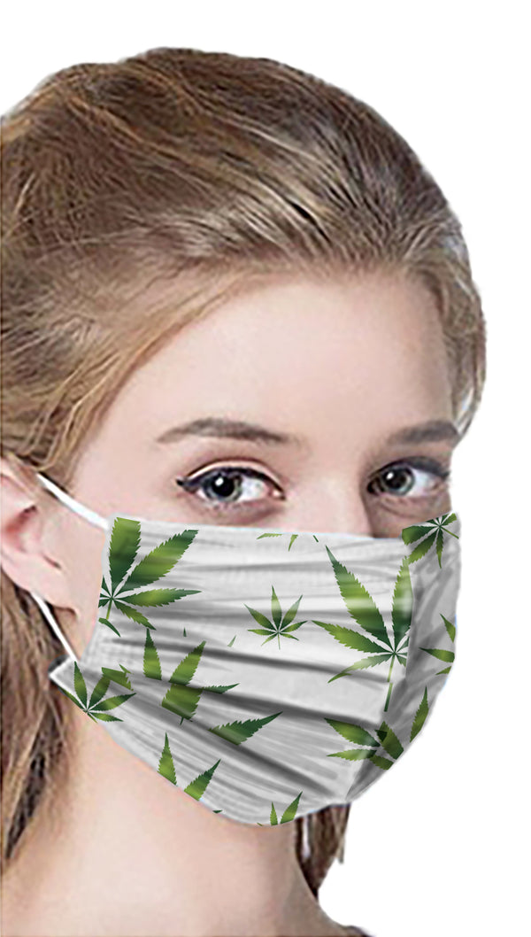 Canna themed 3-ply disposable masks, 50 pack