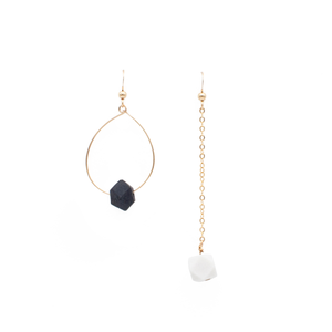 asymmetrical-earrings-with-hoop-and-drop-chain