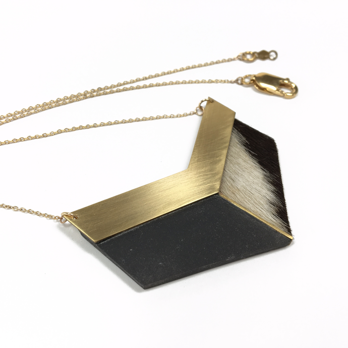 cowhide-leather-black-porcelain-brass-chevron-necklace