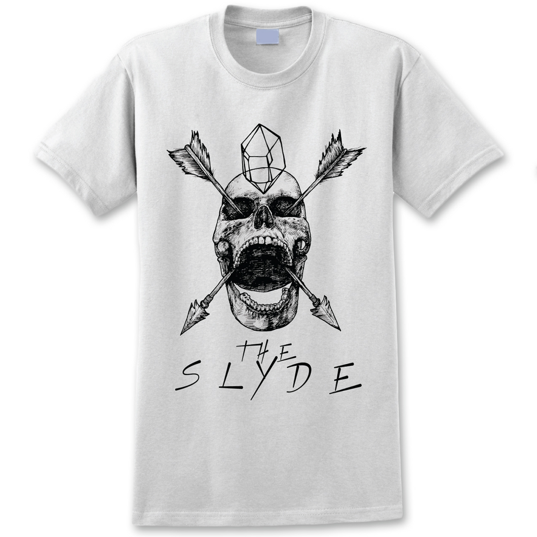 The Slyde Skull and Arrows Unisex T-Shirt (White)