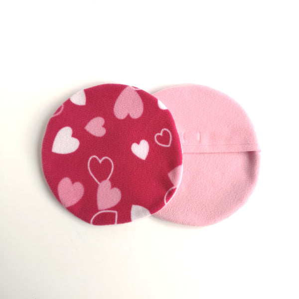 pink hearts fleece cover for snugglesafe pet heat pad