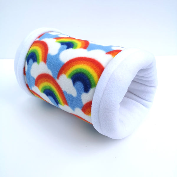 fleece tunnel for guinea pigs rainbows and white fleece
