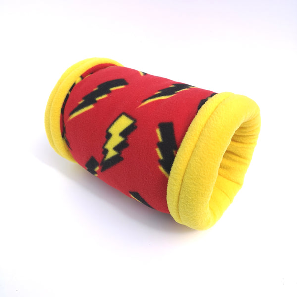 fleece tunnel for guinea pigs yellow lightning strikes on red