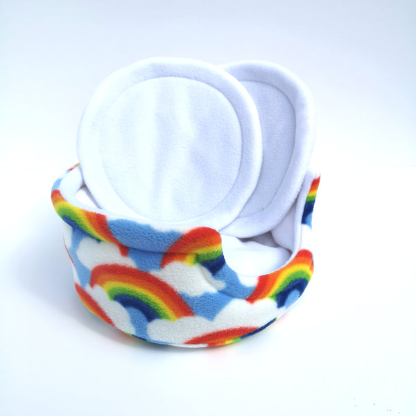 Fleece cuddle cup bed for guinea pigs rainbow and white fleece
