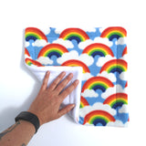 fleece potty peed pad for guinea pigs rainbows and white