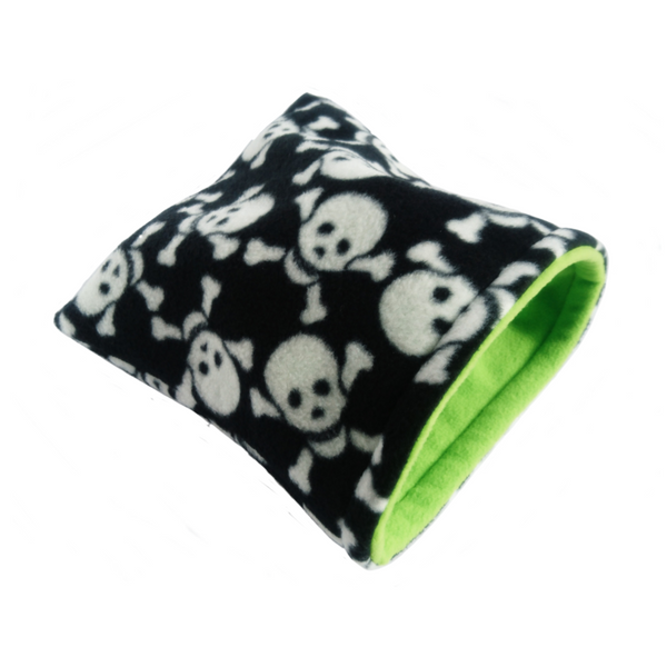 black and white skull with lime green small pet fleece sleeping bag