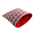 Large Padded Fleece Sleeping Bag for Guinea Pigs (Christmas Houses, Red)
