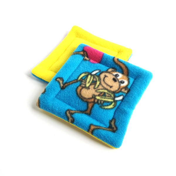pet water bottle drip mats monkey on blue and yellow