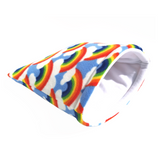 rainbow pattern fleece padded sleeping bag for small pet