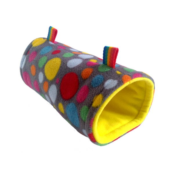 grey multicoloured dot and yelllow fleece hanging tunnel for rats degus sugar gliders